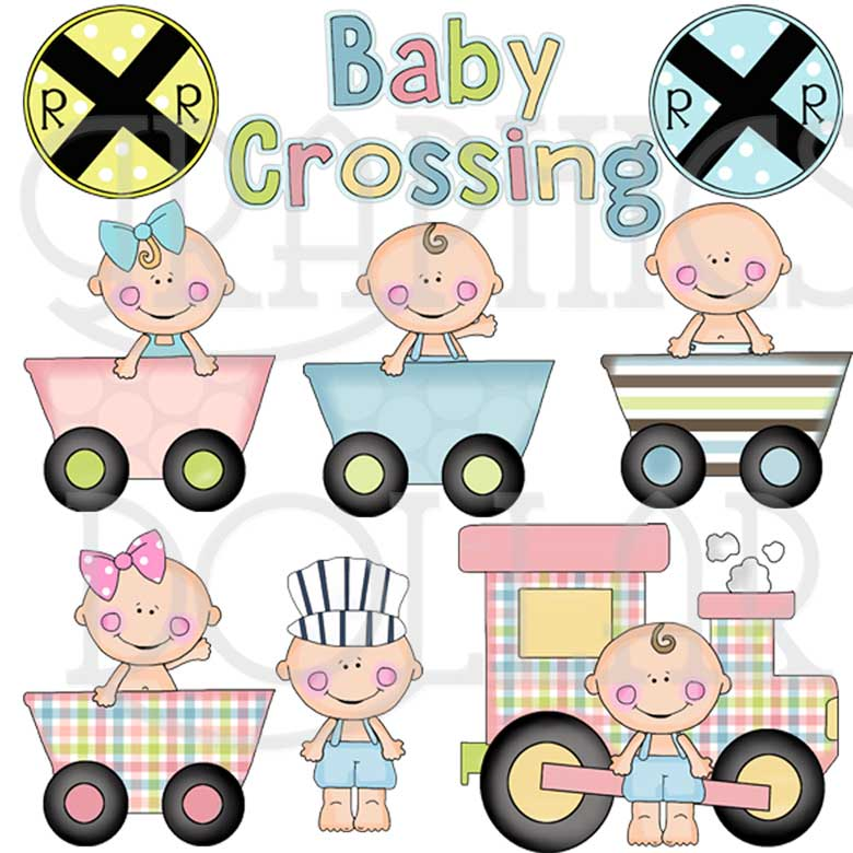 On the Baby Train Clip Art