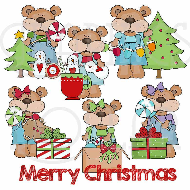 Overall Bears Christmas Clip Art