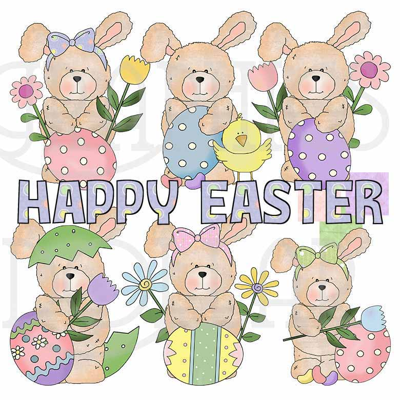 Raggedy Easter Bunny Clip Art