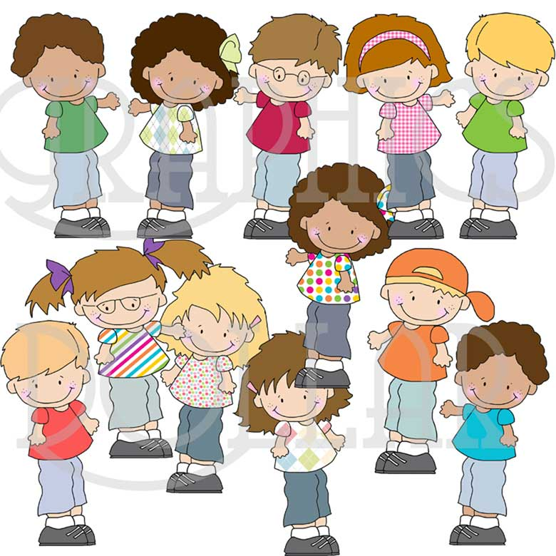 Sideways Kids Clip Art