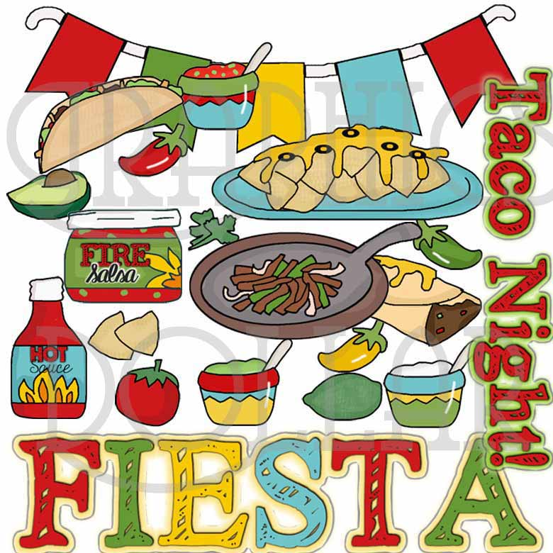 Taco Night Fiesta Clip Art - Graphics Dollar