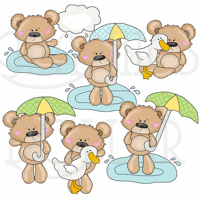 Teddy Loves a Rainy Day Clip Art