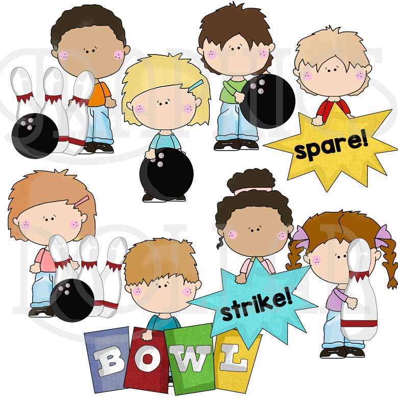 The Bowling Kids Clip Art