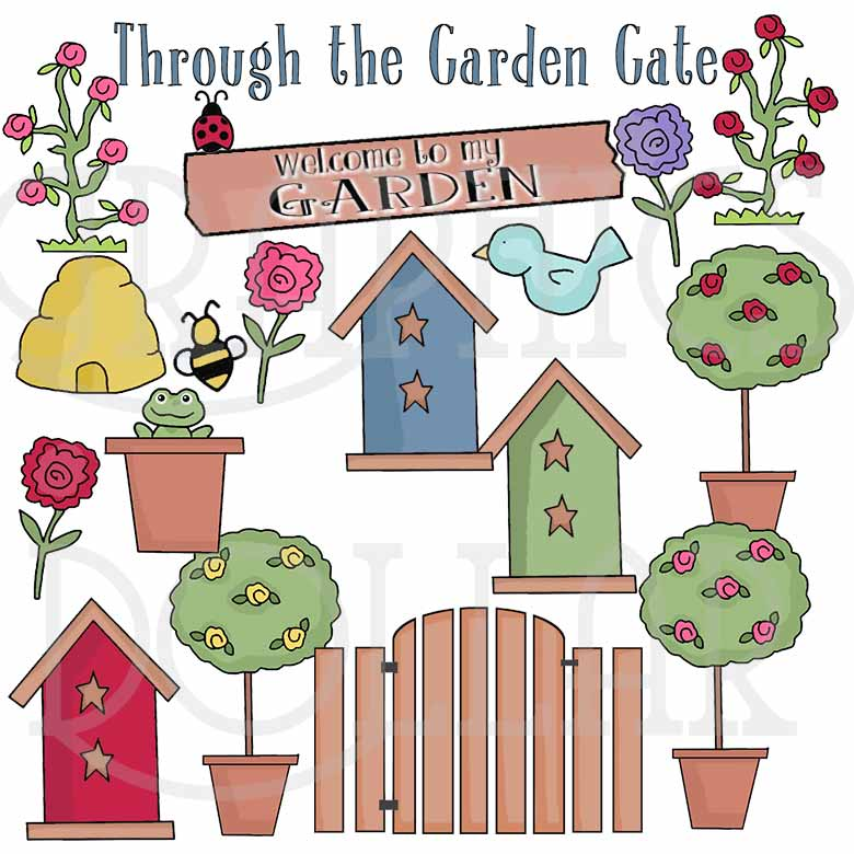 Through the Garden Gate Clip Art