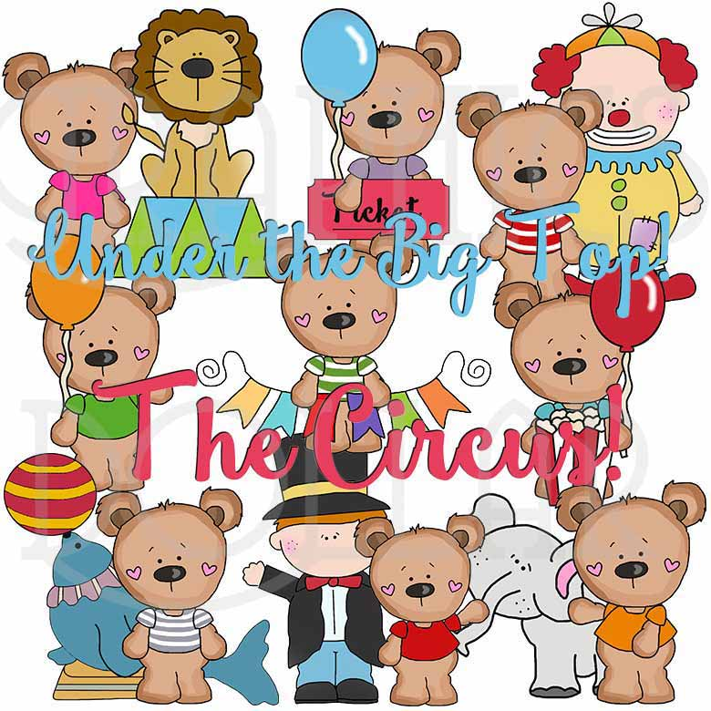 T-Shirt Bears at the Circus Exclusive Clip Art