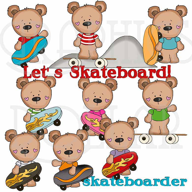 Tshirt Bears Skateboard Exclusive Clip Art