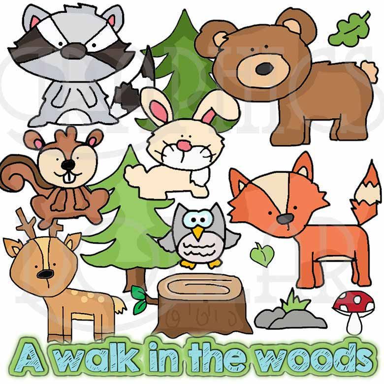 Walking In the Woods Clip Art