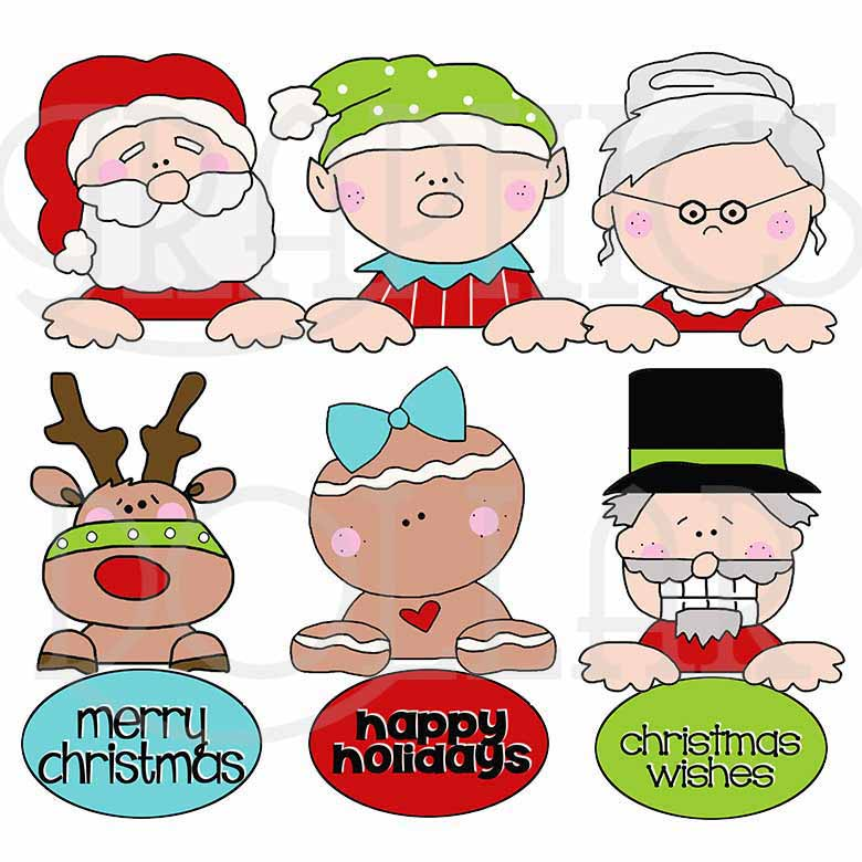 Whimsical Christmas Peekers Clip Art