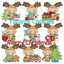 Merry Little Christmas Moose Exclusive Clip Art