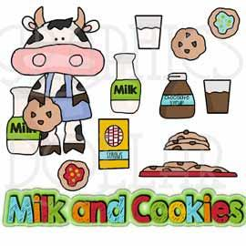 Cookies and Milk Cow Clip Art