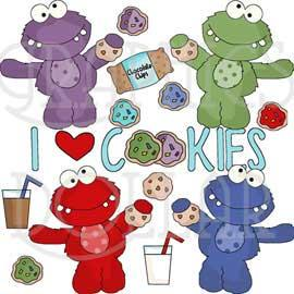 Monsters Love Cookies Clip Art