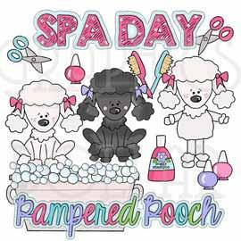 Pampered Pooch Spa Day Clip Art