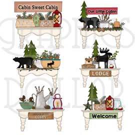 Pretty Cabin Shelves Clip Art