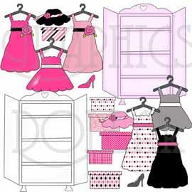 Pretty Girly Closet Clip Art