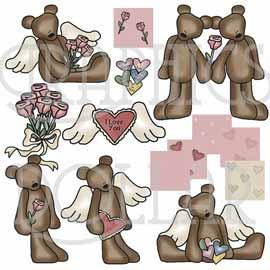 Primitive Valentine Teddy Bears Clip Art