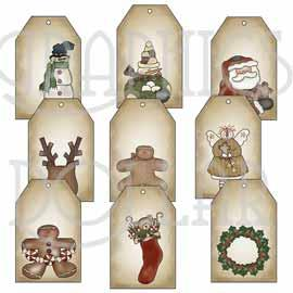 Primitive Christmas Tags - Set 1