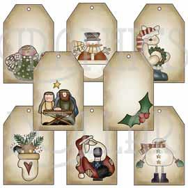 Primitive Christmas Tags - Set 3
