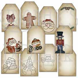 Primitive Christmas Tags - Set 2