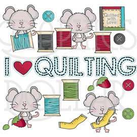 Quilting Mice Clip Art