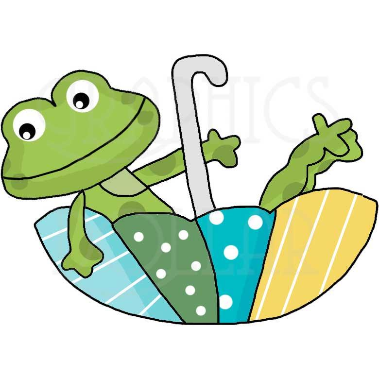 Rainy Day Frogs Clip Art
