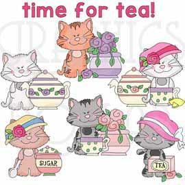 Scruffy Cats Time for Tea