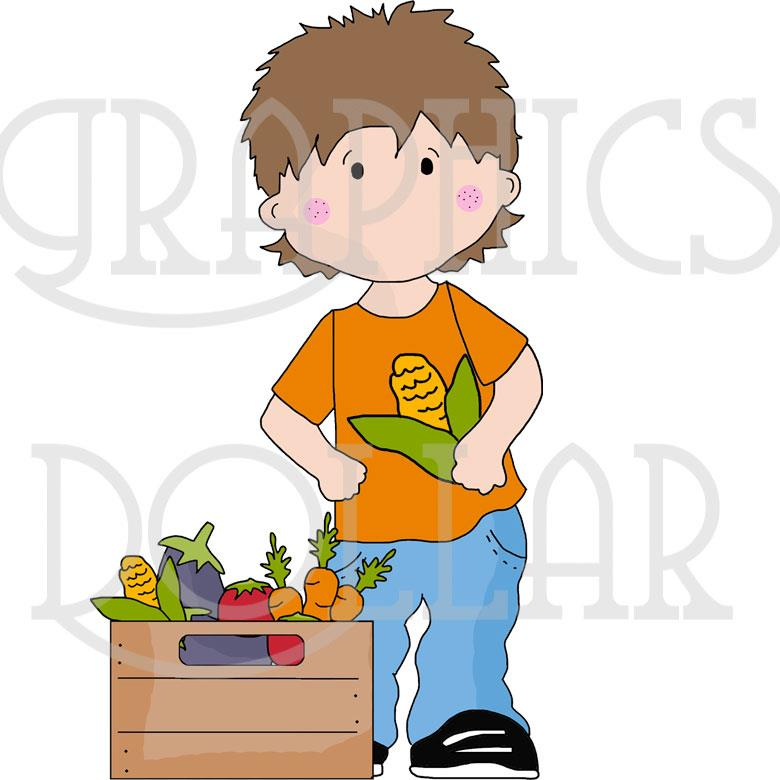 Selling at Farmers Market Clip Art