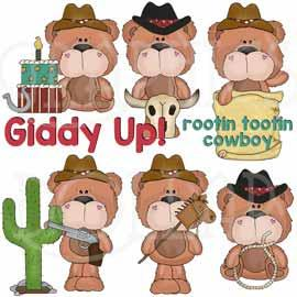 Silly Bear Cowboys Clip Art
