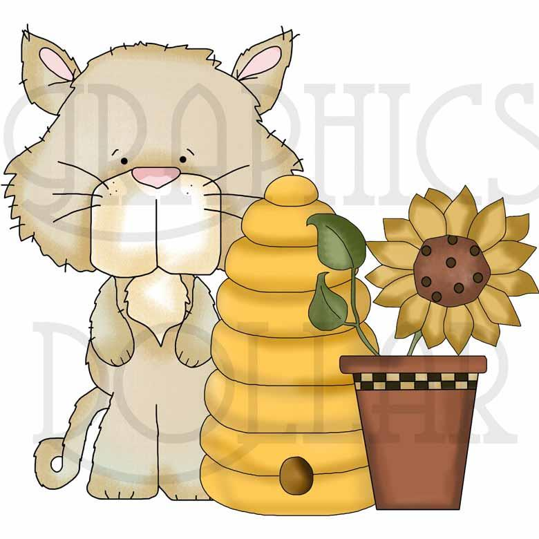 Silly Cats and Sunflowers Clip Art