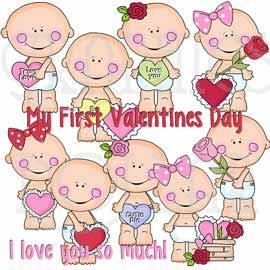 Smiley Baby Valentine Clip Art - Exclusive Graphics