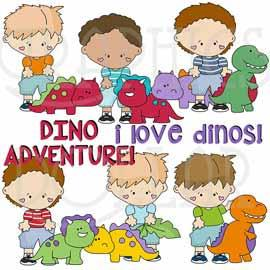 Snicklefritz Boys Love Dinosaurs Clip Art