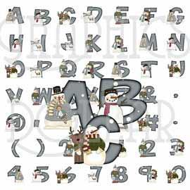 Snow People Alphabet Clip Art