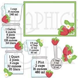Strawberry Kitchen Measurements Clip Art