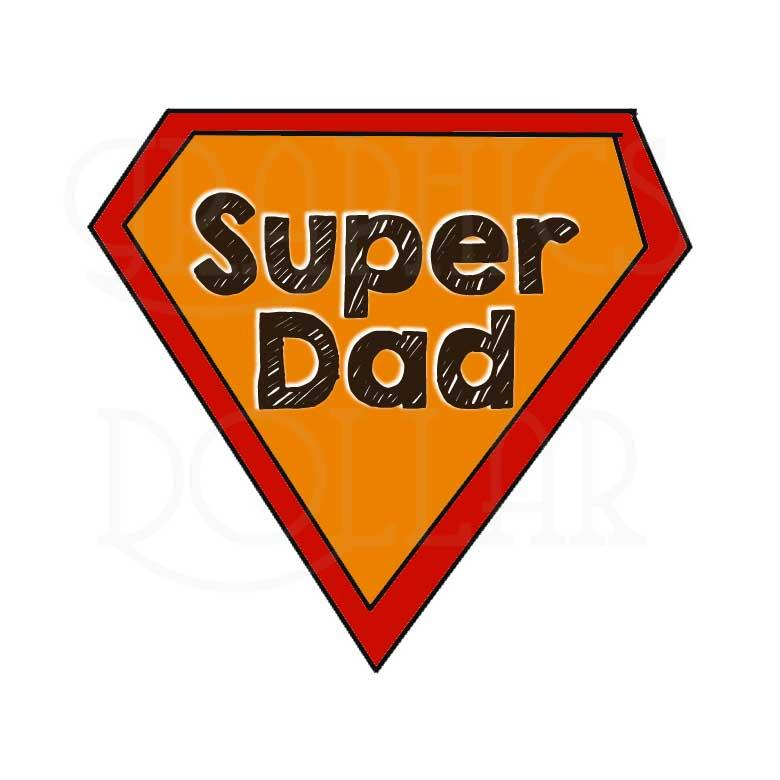 Super dad shield on blue background Royalty Free Vector