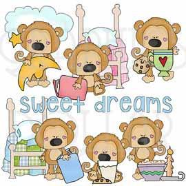 Sweet Dreams Scruffy Monkey Clip Art