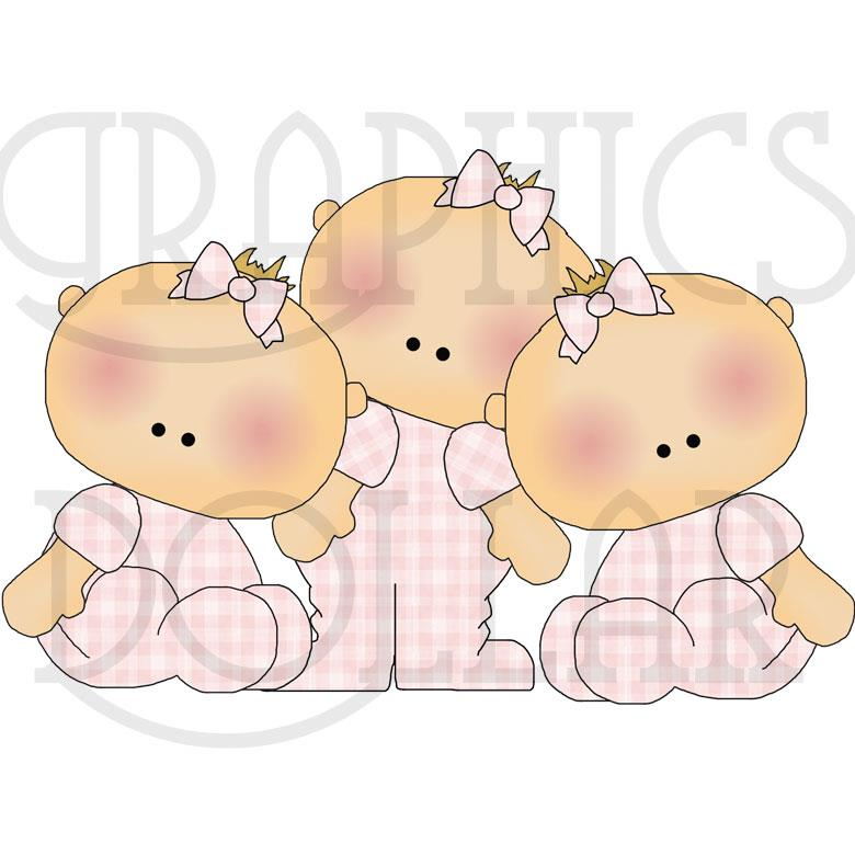 Sweet Multiple Babies Clip Art - Twins and Triplets Graphics