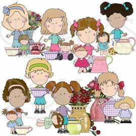 Tea Party with Dolly Clip Art