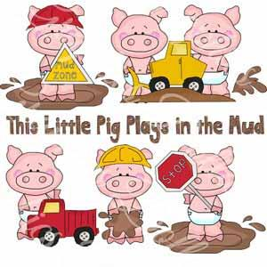 This Little Pig Loves Playing in the Mud - Exclusive Clip Art