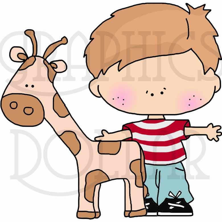 Tiny Children Go to Zoo Clip Art