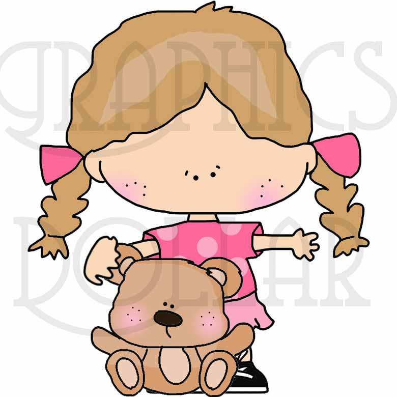 Tiny Kids Love Teddy Bear Clip Art