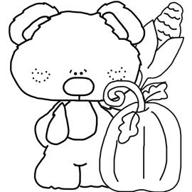 Free Digital Stamp - Tiny Pumpkin Patch Bear
