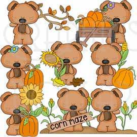 Tiny Pumpkin Patch Bears Clip Art