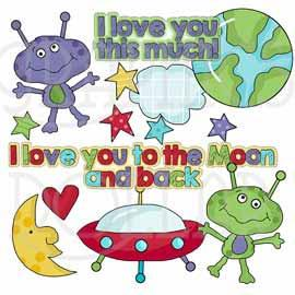 To the Moon and Back Clip Art