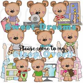 T-shirt Bears Sleepover Exclusive Clip Art